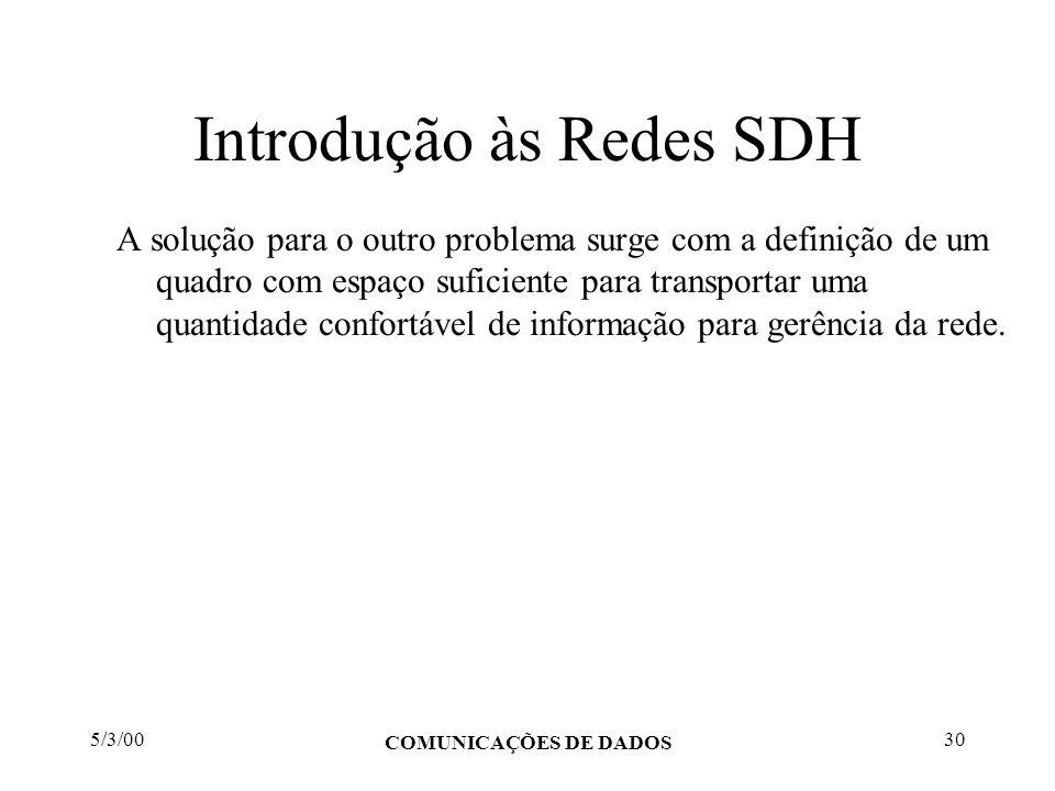 5/3/00 COMUNICAÇÕES DE DADOS 30 Introdução às Redes SDH A solução para o outro problema surge com a definição de um quadro com espaço suficiente para