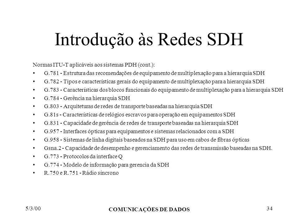 5/3/00 COMUNICAÇÕES DE DADOS 34 Introdução às Redes SDH Normas ITU-T aplicáveis aos sistemas PDH (cont.): G.781 - Estrutura das recomendações de equip