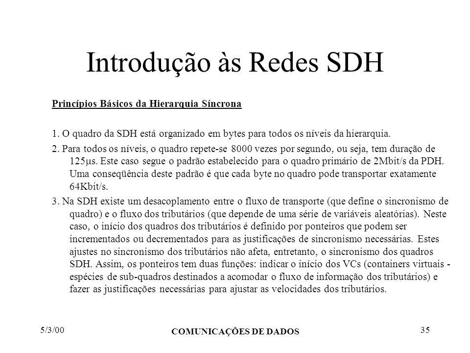 5/3/00 COMUNICAÇÕES DE DADOS 35 Introdução às Redes SDH Princípios Básicos da Hierarquia Síncrona 1. O quadro da SDH está organizado em bytes para tod