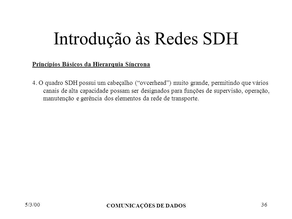 5/3/00 COMUNICAÇÕES DE DADOS 36 Introdução às Redes SDH Princípios Básicos da Hierarquia Síncrona 4. O quadro SDH possui um cabeçalho (ovcerhead) muit