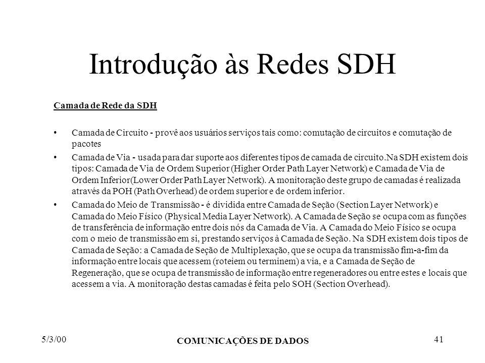 5/3/00 COMUNICAÇÕES DE DADOS 41 Introdução às Redes SDH Camada de Rede da SDH Camada de Circuito - provê aos usuários serviços tais como: comutação de