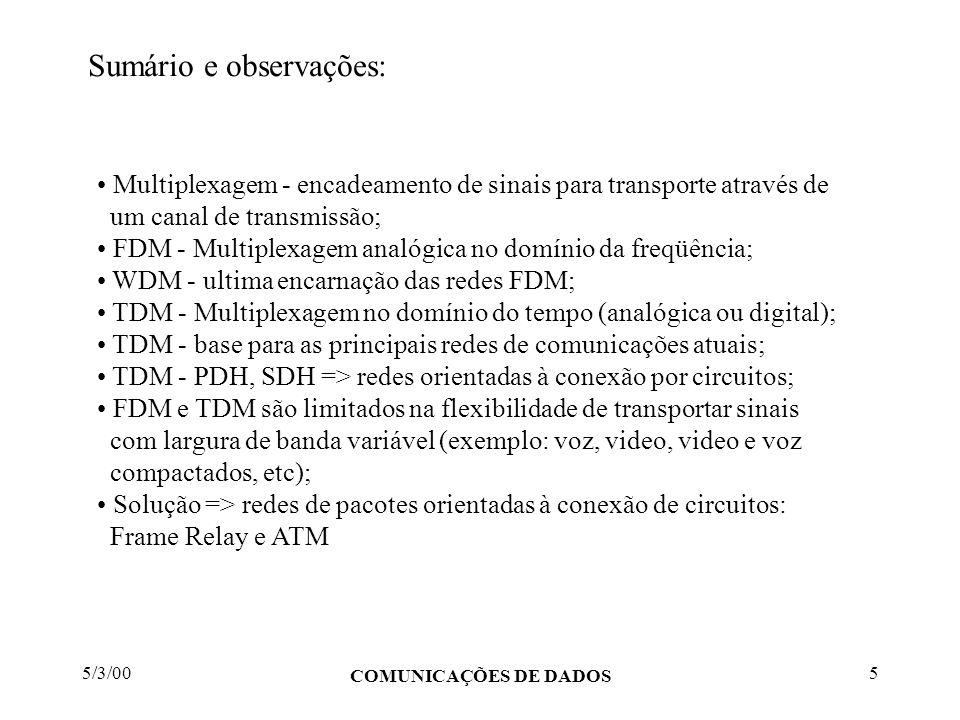 5/3/00 COMUNICAÇÕES DE DADOS 5 Sumário e observações: Multiplexagem - encadeamento de sinais para transporte através de um canal de transmissão; FDM -