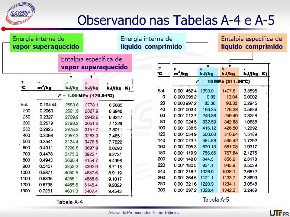 Avaliando Propriedades Termodinâmicas Observando nas Tabelas A-4 e A-5 Tabela A-4 Tabela A-5 Energia interna de vapor superaquecido Entalpia específic