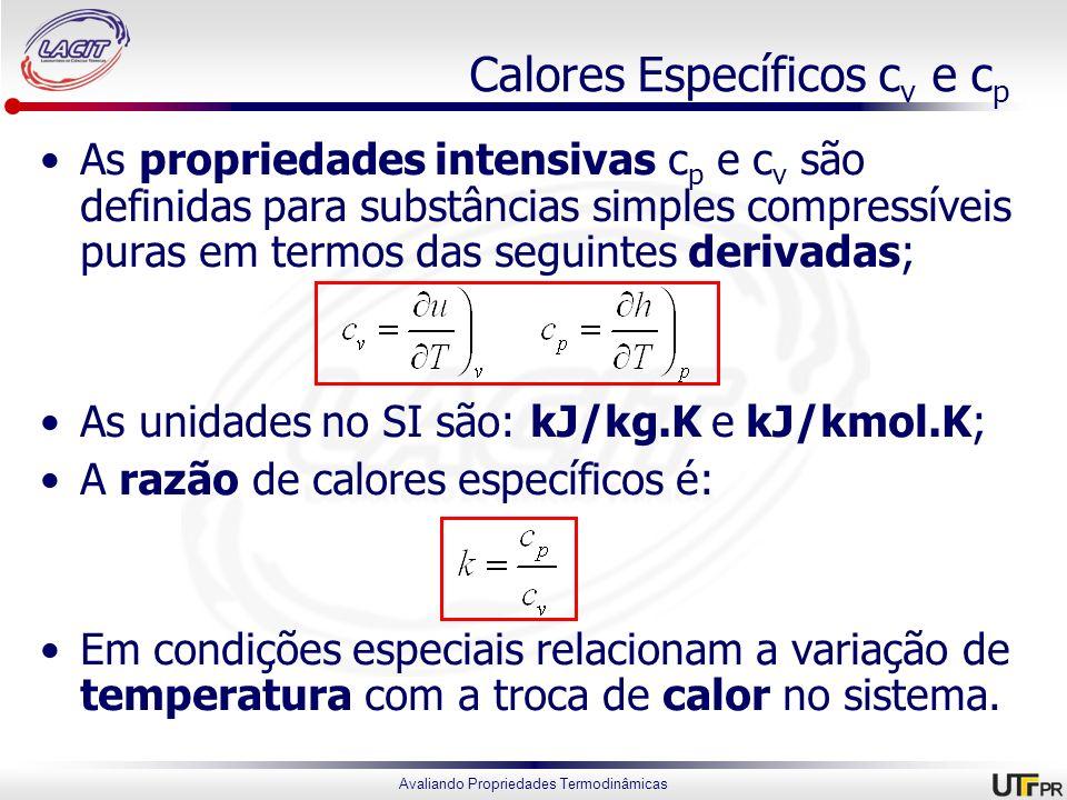 Avaliando Propriedades Termodinâmicas Calores Específicos c v e c p As propriedades intensivas c p e c v são definidas para substâncias simples compre