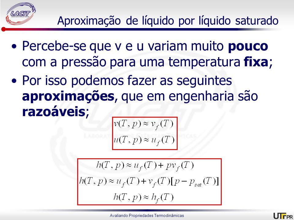 Avaliando Propriedades Termodinâmicas Aproximação de líquido por líquido saturado Percebe-se que v e u variam muito pouco com a pressão para uma tempe