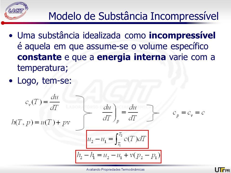 Avaliando Propriedades Termodinâmicas Modelo de Substância Incompressível Uma substância idealizada como incompressível é aquela em que assume-se o vo