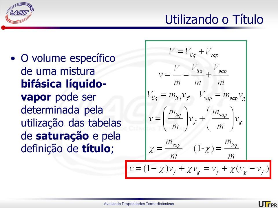 Avaliando Propriedades Termodinâmicas Utilizando o Título O volume específico de uma mistura bifásica líquido- vapor pode ser determinada pela utiliza