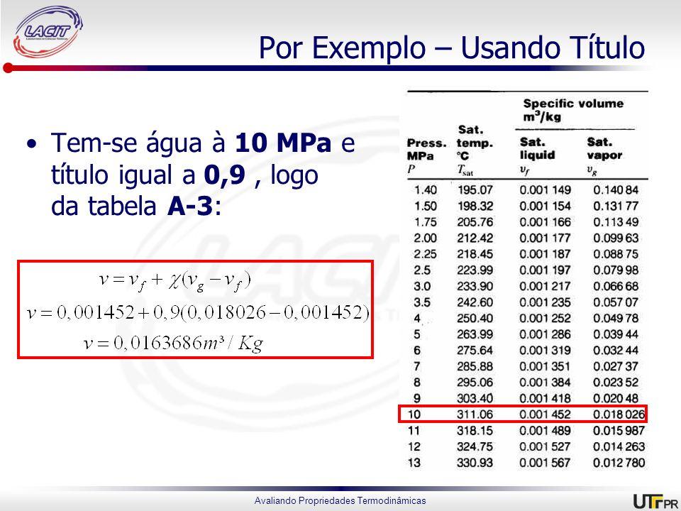 Avaliando Propriedades Termodinâmicas Por Exemplo – Usando Título Tem-se água à 10 MPa e título igual a 0,9, logo da tabela A-3: