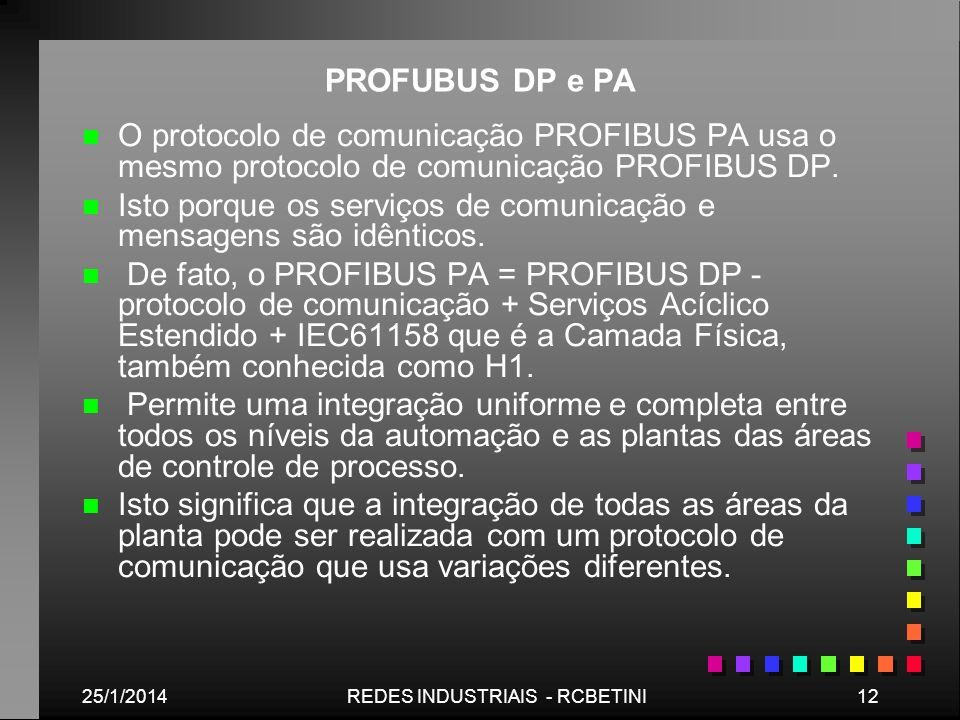 25/1/201412REDES INDUSTRIAIS - RCBETINI PROFUBUS DP e PA n n O protocolo de comunicação PROFIBUS PA usa o mesmo protocolo de comunicação PROFIBUS DP.