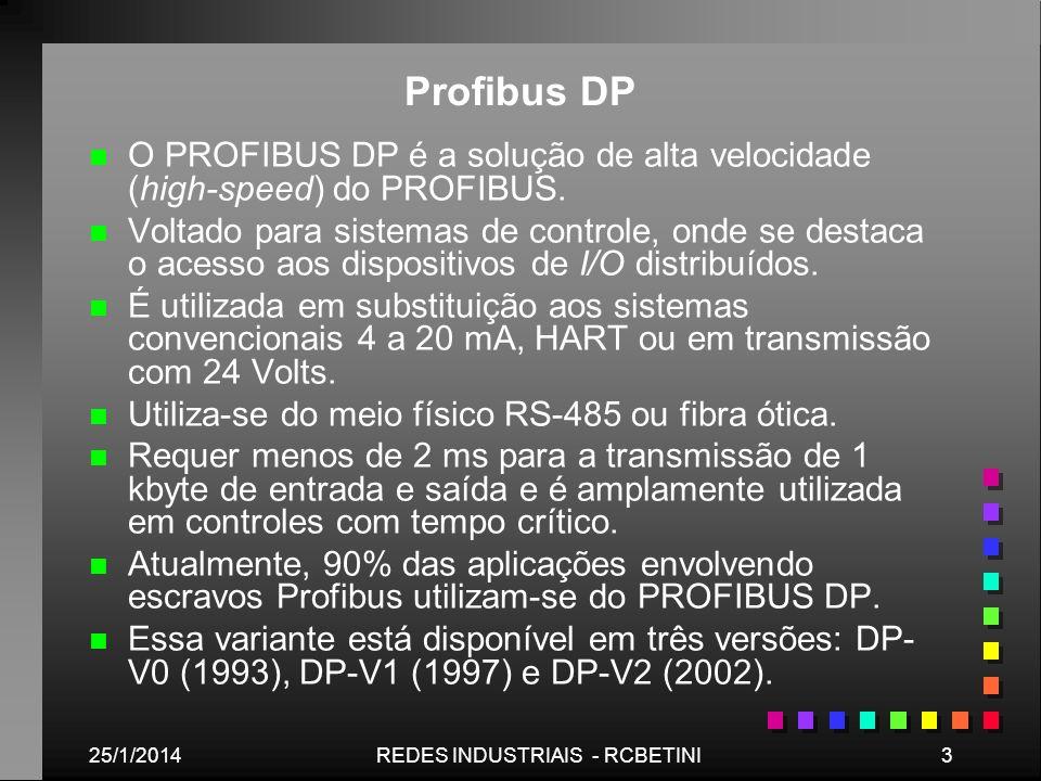 25/1/20143REDES INDUSTRIAIS - RCBETINI Profibus DP n n O PROFIBUS DP é a solução de alta velocidade (high-speed) do PROFIBUS. n n Voltado para sistema