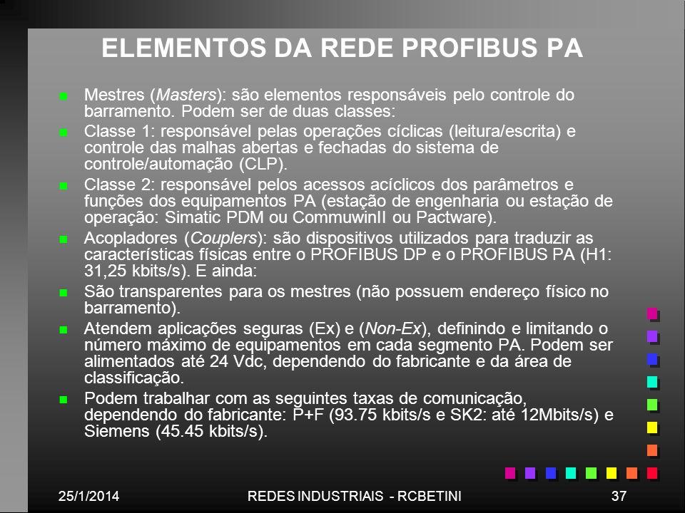 25/1/201437REDES INDUSTRIAIS - RCBETINI ELEMENTOS DA REDE PROFIBUS PA n n Mestres (Masters): são elementos responsáveis pelo controle do barramento. P