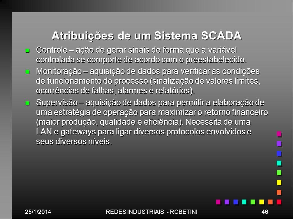 Atribuições de um Sistema SCADA n Controle – ação de gerar sinais de forma que a variável controlada se comporte de acordo com o preestabelecido. n Mo