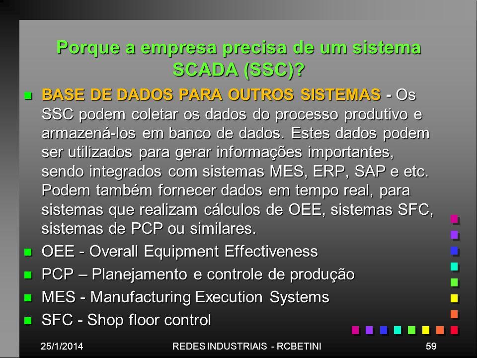 Porque a empresa precisa de um sistema SCADA (SSC)? n BASE DE DADOS PARA OUTROS SISTEMAS - Os SSC podem coletar os dados do processo produtivo e armaz