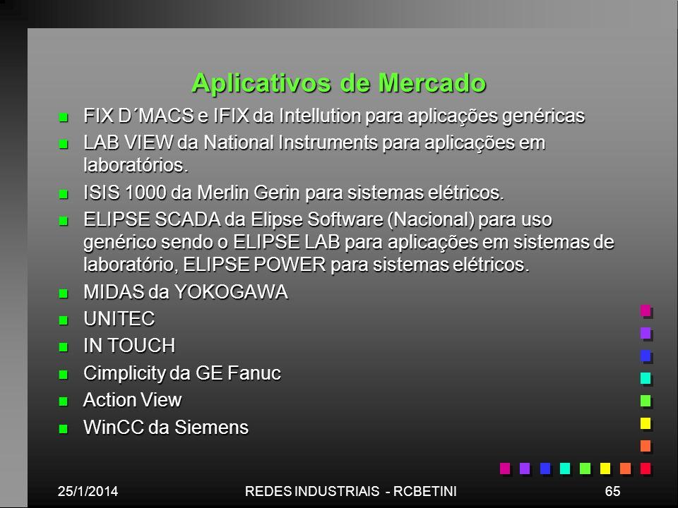 Aplicativos de Mercado n FIX D´MACS e IFIX da Intellution para aplicações genéricas n LAB VIEW da National Instruments para aplicações em laboratórios
