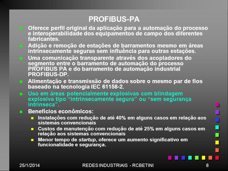 25/1/20148REDES INDUSTRIAIS - RCBETINI PROFIBUS-PA n n Oferece perfil original da aplicação para a automação do processo e interoperabilidade dos equi