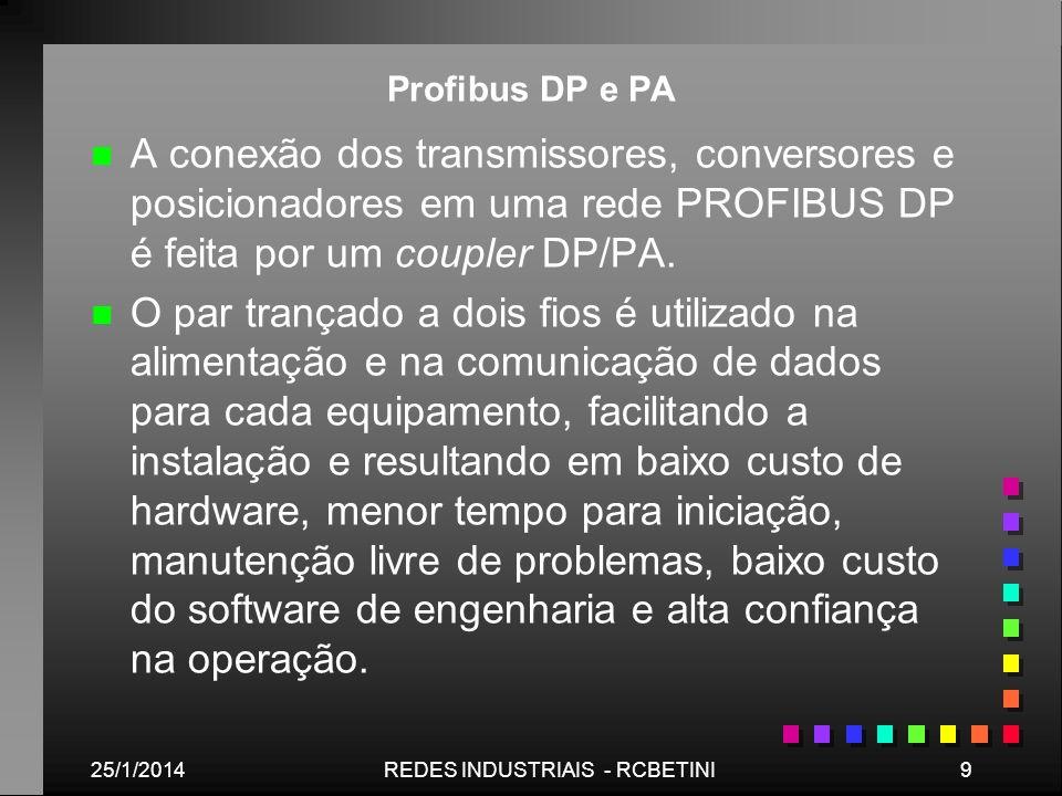 25/1/20149REDES INDUSTRIAIS - RCBETINI Profibus DP e PA n n A conexão dos transmissores, conversores e posicionadores em uma rede PROFIBUS DP é feita