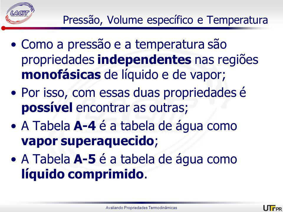 Avaliando Propriedades Termodinâmicas Pressão, Volume específico e Temperatura Como a pressão e a temperatura são propriedades independentes nas regiões monofásicas de líquido e de vapor; Por isso, com essas duas propriedades é possível encontrar as outras; A Tabela A-4 é a tabela de água como vapor superaquecido; A Tabela A-5 é a tabela de água como líquido comprimido.