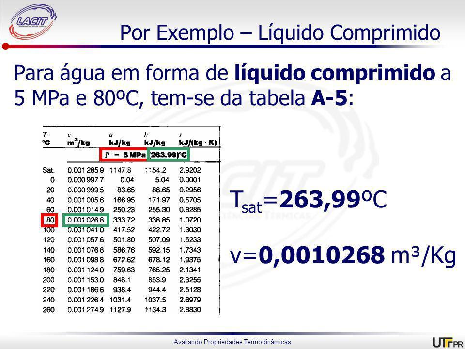 Avaliando Propriedades Termodinâmicas Por Exemplo – Líquido Comprimido Para água em forma de líquido comprimido a 5 MPa e 80ºC, tem-se da tabela A-5: T sat =263,99ºC v=0,0010268 m³/Kg