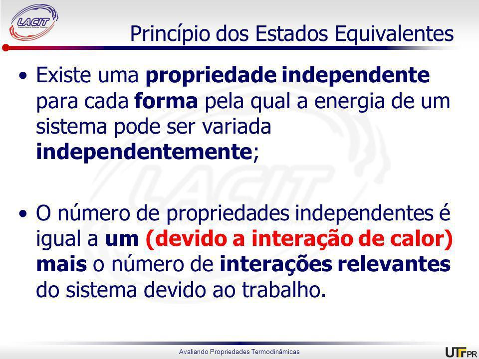 Avaliando Propriedades Termodinâmicas Princípio dos Estados Equivalentes Existe uma propriedade independente para cada forma pela qual a energia de um sistema pode ser variada independentemente; O número de propriedades independentes é igual a um (devido a interação de calor) mais o número de interações relevantes do sistema devido ao trabalho.