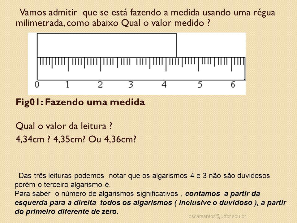 Vamos admitir que se está fazendo a medida usando uma régua milimetrada, como abaixo Qual o valor medido ? Fig01: Fazendo uma medida Qual o valor da l