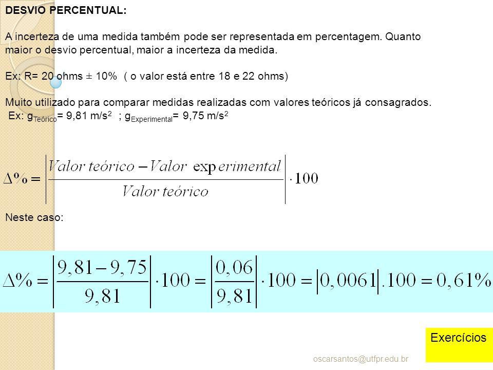 DESVIO PERCENTUAL: A incerteza de uma medida também pode ser representada em percentagem. Quanto maior o desvio percentual, maior a incerteza da medid