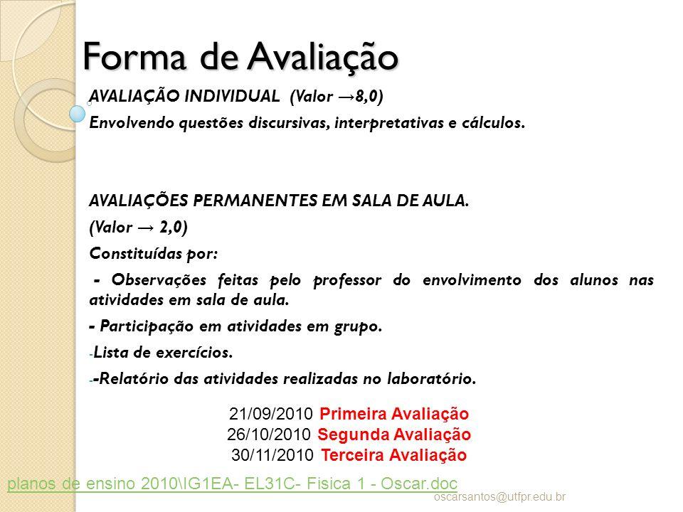 Forma de Avaliação AVALIAÇÃO INDIVIDUAL (Valor 8,0) Envolvendo questões discursivas, interpretativas e cálculos. AVALIAÇÕES PERMANENTES EM SALA DE AUL