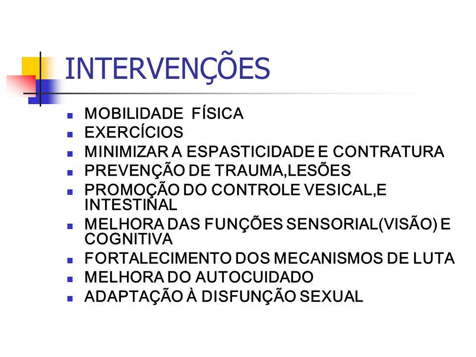 INTERVENÇÕES MOBILIDADE FÍSICA EXERCÍCIOS MINIMIZAR A ESPASTICIDADE E CONTRATURA PREVENÇÃO DE TRAUMA,LESÕES PROMOÇÃO DO CONTROLE VESICAL,E INTESTINAL