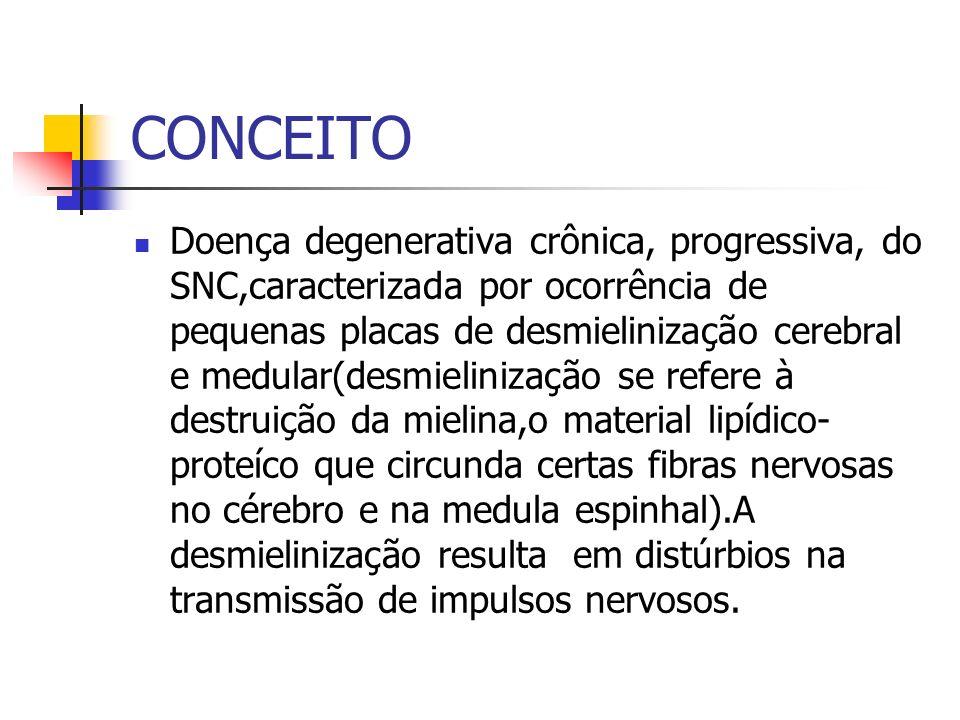 CONCEITO Doença degenerativa crônica, progressiva, do SNC,caracterizada por ocorrência de pequenas placas de desmielinização cerebral e medular(desmie