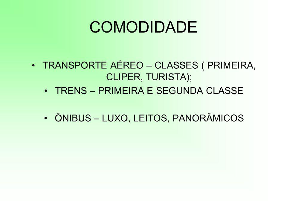 COMODIDADE TRANSPORTE AÉREO – CLASSES ( PRIMEIRA, CLIPER, TURISTA); TRENS – PRIMEIRA E SEGUNDA CLASSE ÔNIBUS – LUXO, LEITOS, PANORÂMICOS