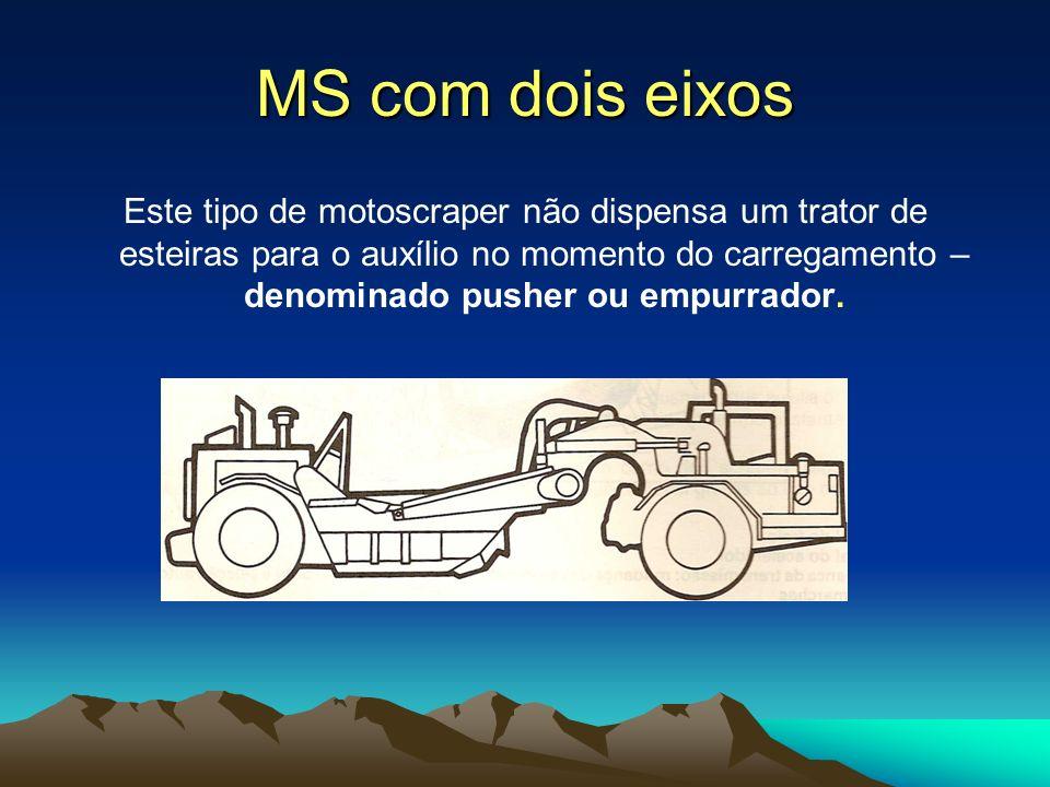 Este tipo de motoscraper não dispensa um trator de esteiras para o auxílio no momento do carregamento – denominado pusher ou empurrador.