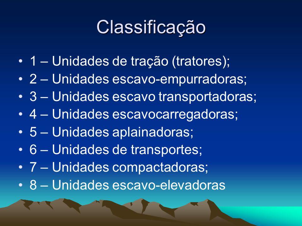 Classificação 1 – Unidades de tração (tratores); 2 – Unidades escavo-empurradoras; 3 – Unidades escavo transportadoras; 4 – Unidades escavocarregadora