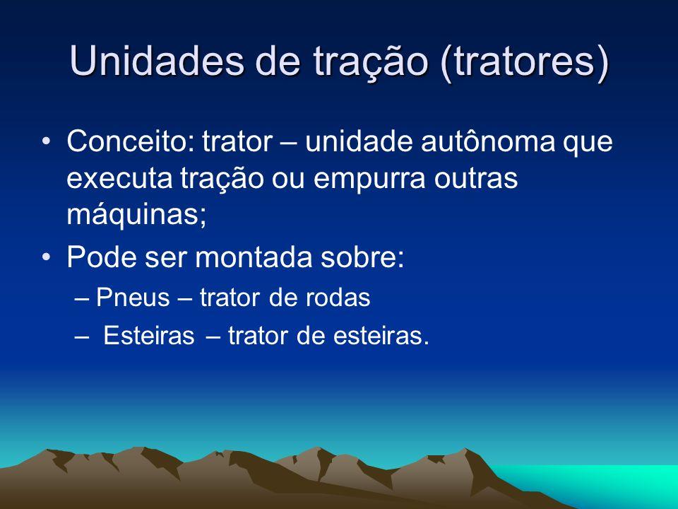Características Esforço trator: é a força que o trator possui na barra de tração ou nas rodas moltrizes.