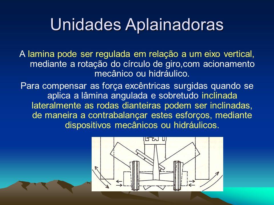 A lamina pode ser regulada em relação a um eixo vertical, mediante a rotação do círculo de giro,com acionamento mecânico ou hidráulico. Para compensar