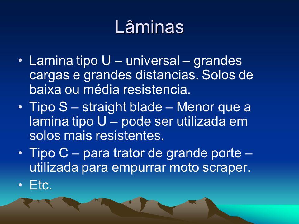 Lâminas Lamina tipo U – universal – grandes cargas e grandes distancias. Solos de baixa ou média resistencia. Tipo S – straight blade – Menor que a la