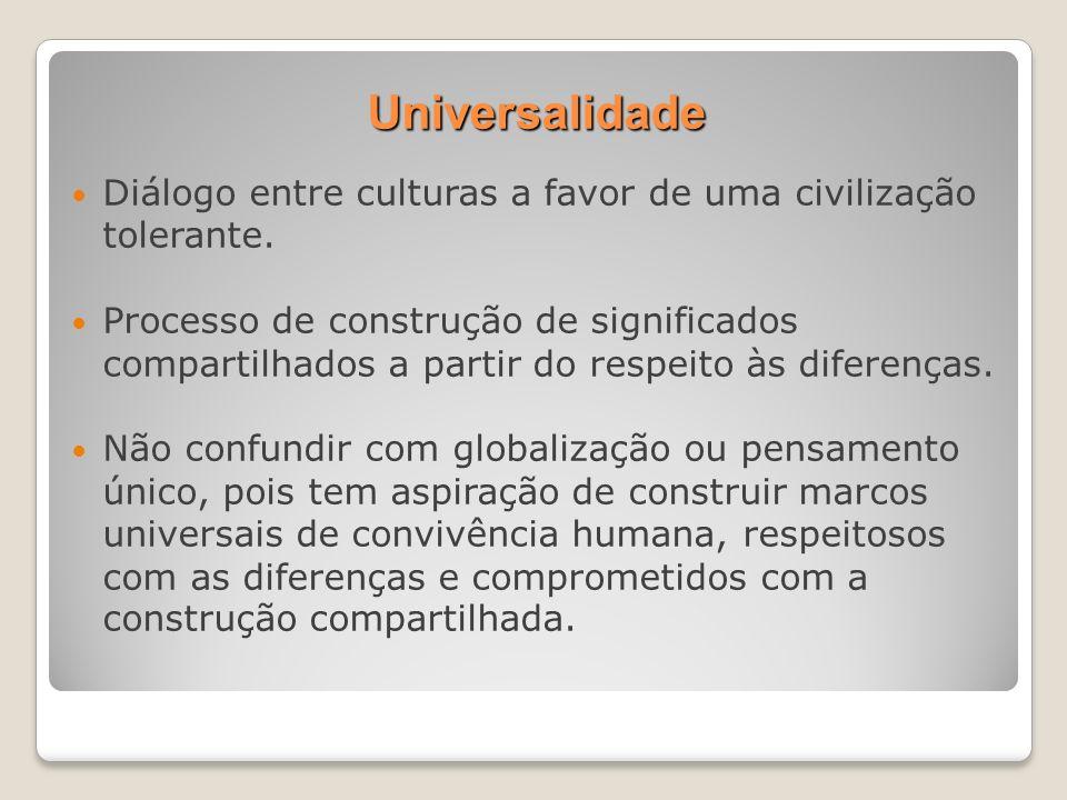 Universalidade Diálogo entre culturas a favor de uma civilização tolerante. Processo de construção de significados compartilhados a partir do respeito
