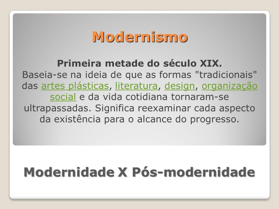 Modernidade X Pós-modernidade Modernismo Primeira metade do século XIX. Baseia-se na ideia de que as formas