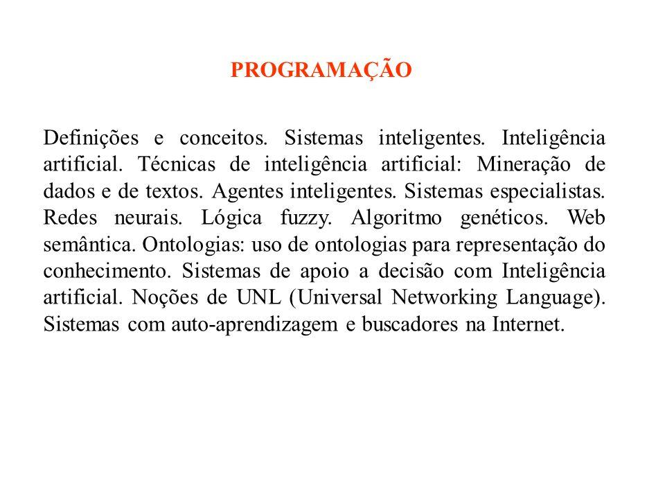 Definições e conceitos. Sistemas inteligentes. Inteligência artificial.