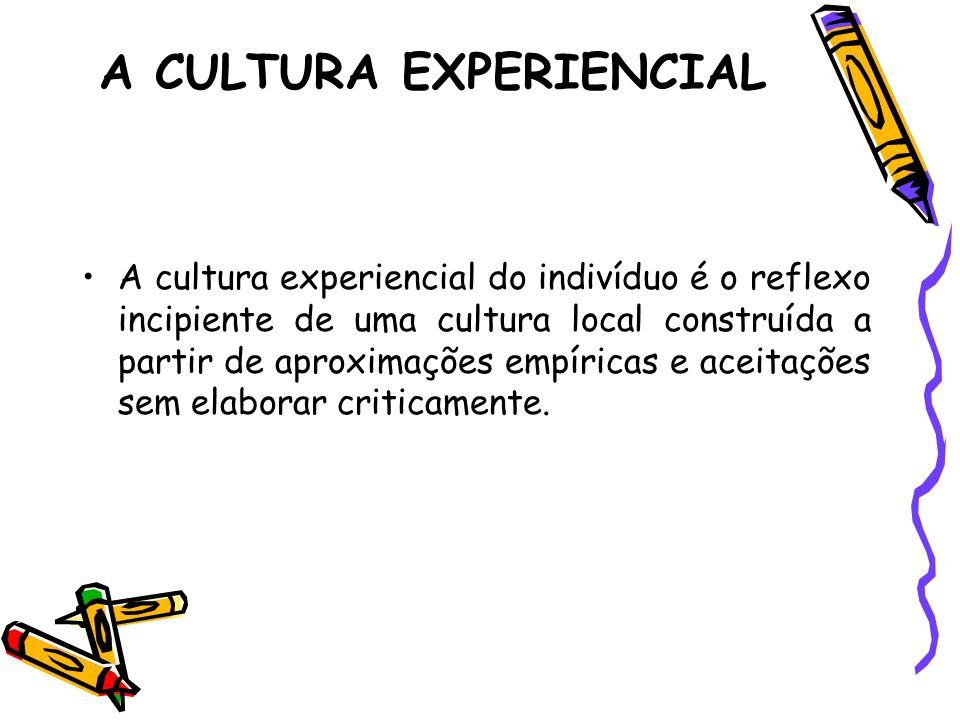 A CULTURA EXPERIENCIAL A cultura experiencial do indivíduo é o reflexo incipiente de uma cultura local construída a partir de aproximações empíricas e
