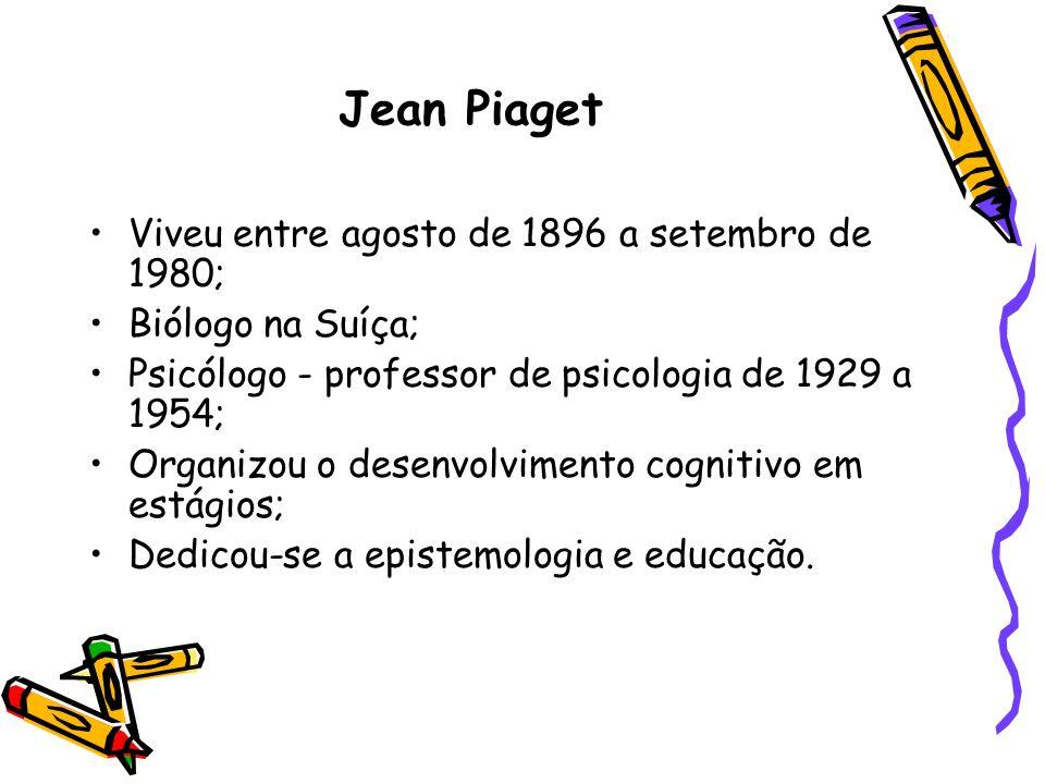 Jean Piaget Viveu entre agosto de 1896 a setembro de 1980; Biólogo na Suíça; Psicólogo - professor de psicologia de 1929 a 1954; Organizou o desenvolv