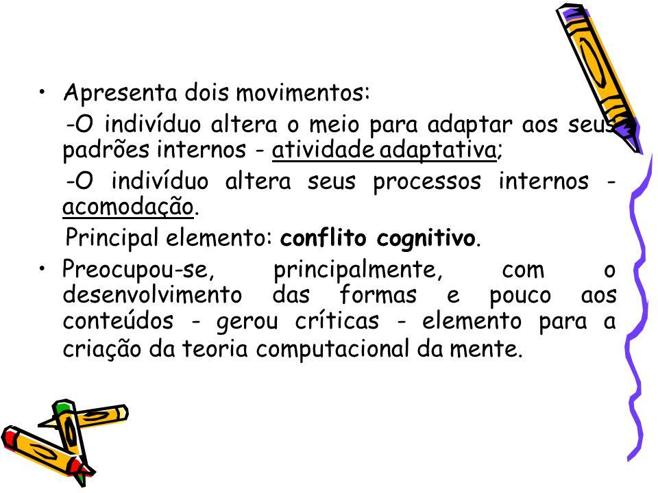 Apresenta dois movimentos: -O indivíduo altera o meio para adaptar aos seus padrões internos - atividade adaptativa; -O indivíduo altera seus processo