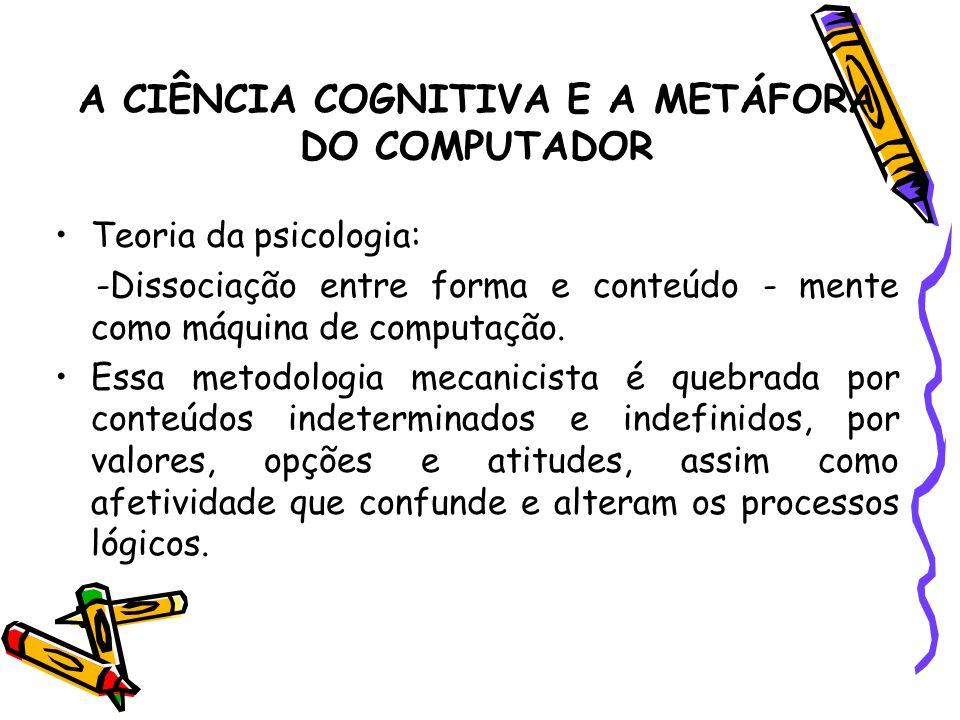 A CIÊNCIA COGNITIVA E A METÁFORA DO COMPUTADOR Teoria da psicologia: -Dissociação entre forma e conteúdo - mente como máquina de computação. Essa meto