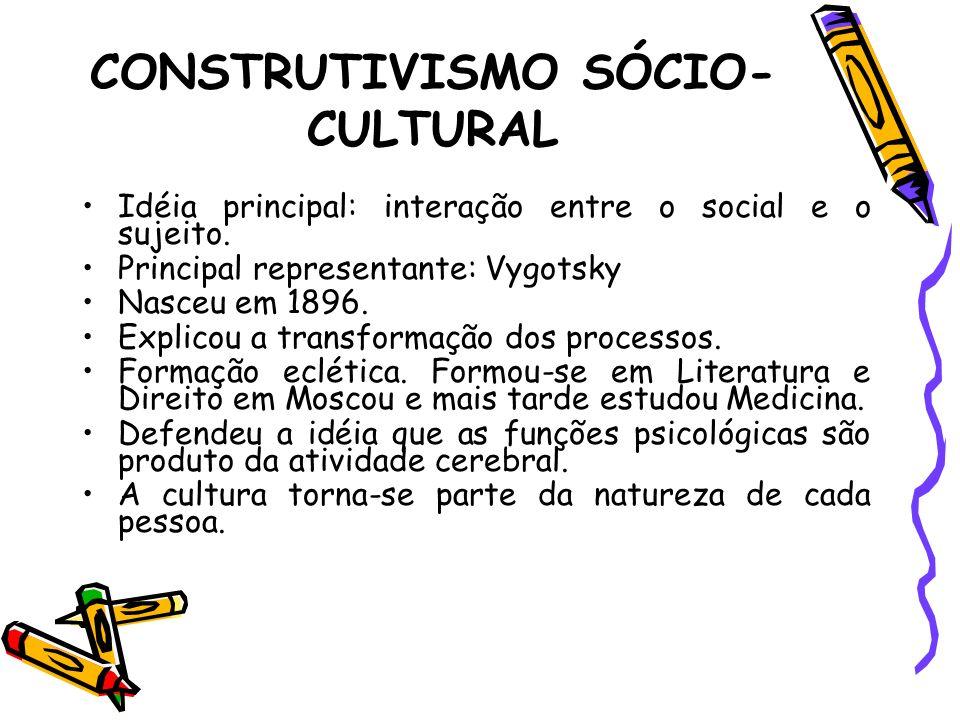 Idéia principal: interação entre o social e o sujeito. Principal representante: Vygotsky Nasceu em 1896. Explicou a transformação dos processos. Forma