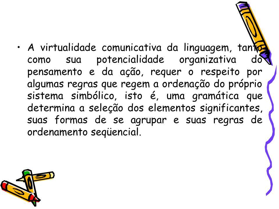A virtualidade comunicativa da linguagem, tanto como sua potencialidade organizativa do pensamento e da ação, requer o respeito por algumas regras que