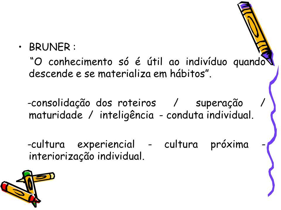 BRUNER : O conhecimento só é útil ao indivíduo quando descende e se materializa em hábitos. -consolidação dos roteiros / superação / maturidade / inte