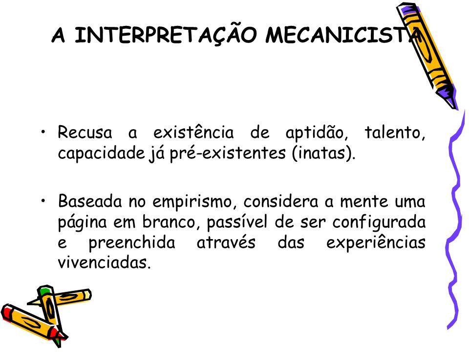 EMPIRISMO MECANICISTA Empirismo: -Defende as experiências como principais ou únicas formadoras das idéias.