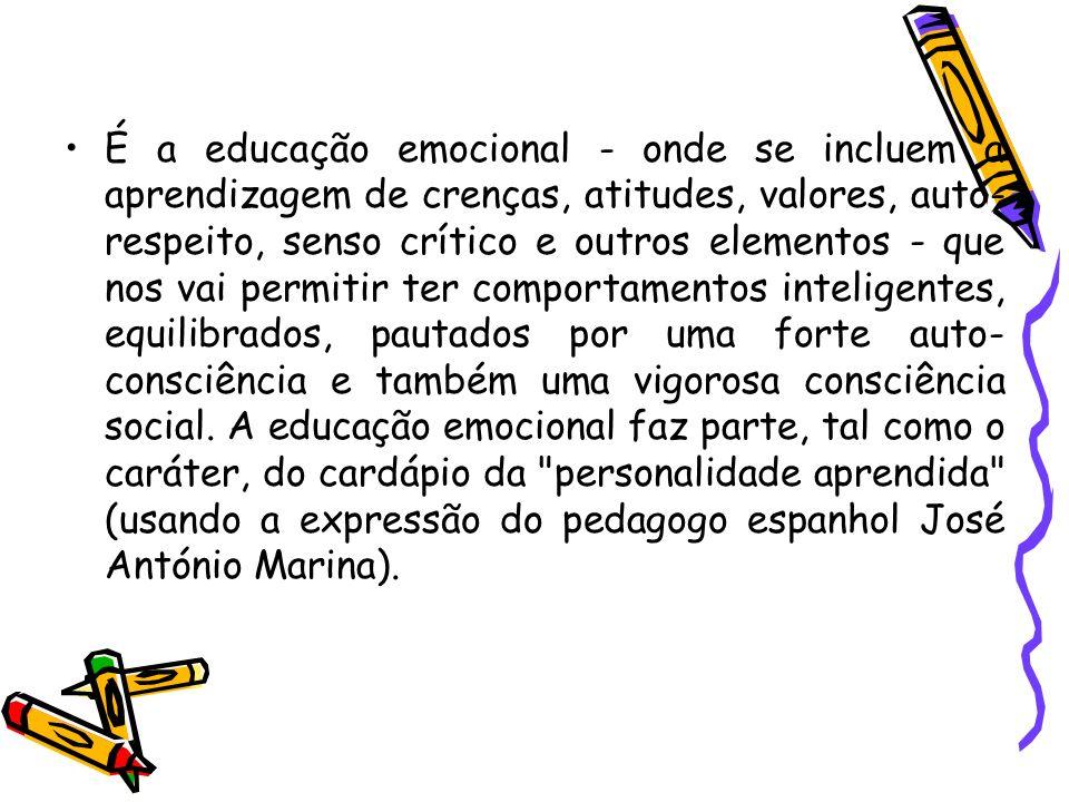 É a educação emocional - onde se incluem a aprendizagem de crenças, atitudes, valores, auto- respeito, senso crítico e outros elementos - que nos vai