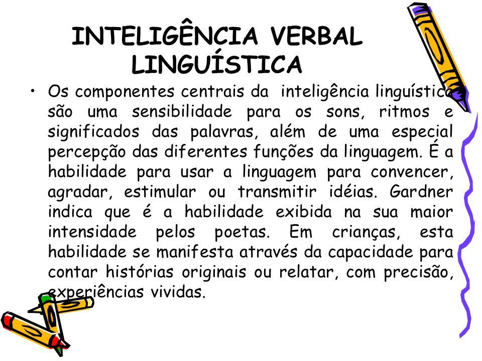 INTELIGÊNCIA VERBAL LINGUÍSTICA Os componentes centrais da inteligência linguística são uma sensibilidade para os sons, ritmos e significados das pala