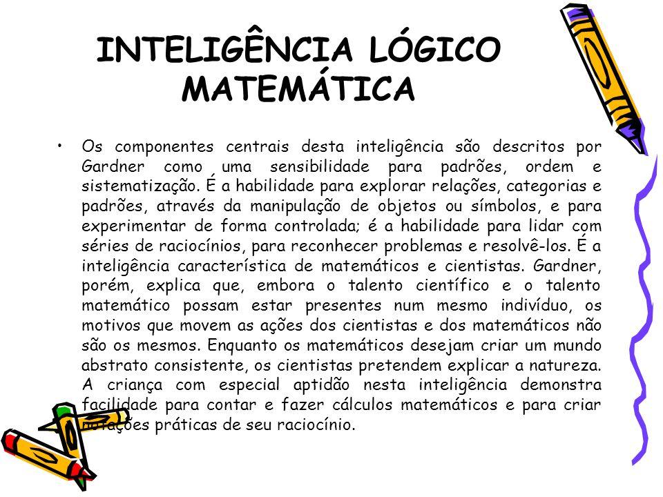 INTELIGÊNCIA LÓGICO MATEMÁTICA Os componentes centrais desta inteligência são descritos por Gardner como uma sensibilidade para padrões, ordem e siste