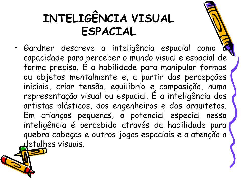 INTELIGÊNCIA VISUAL ESPACIAL Gardner descreve a inteligência espacial como a capacidade para perceber o mundo visual e espacial de forma precisa. É a