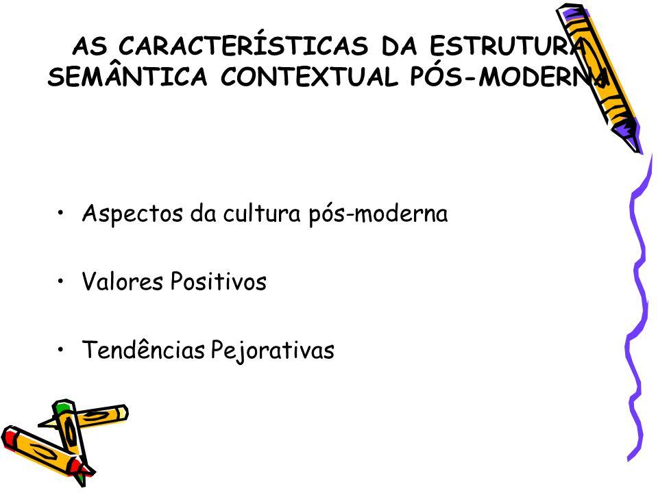 AS CARACTERÍSTICAS DA ESTRUTURA SEMÂNTICA CONTEXTUAL PÓS-MODERNA Aspectos da cultura pós-moderna Valores Positivos Tendências Pejorativas